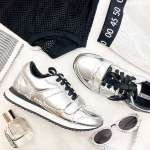 Chunky Silver Leather Sneakers